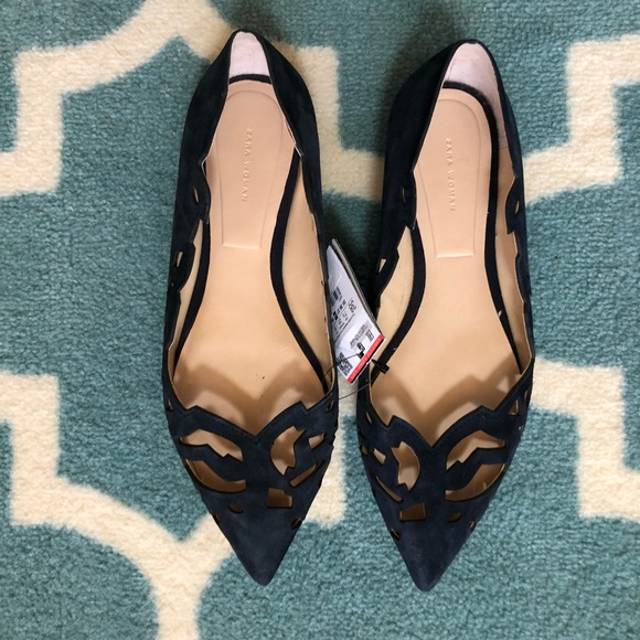 Zara Shoes - Zara Navy laser-cut leather flats
